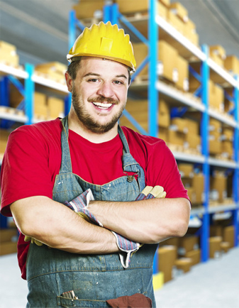 smiling factory worker